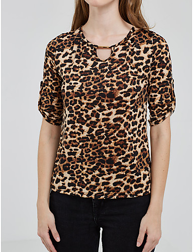 Rayon Brun Tynn Langermet,Rund hals T-skjorte Leopard Alle sesonger Sexy / Enkel Ut på byen / Fritid/hverdag Dame