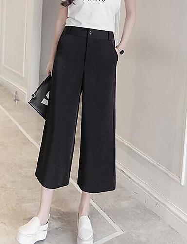 Damen Street Schick Mittlere Hüfthöhe Mikro-elastisch Chinos Breites Bein Hose einfarbig