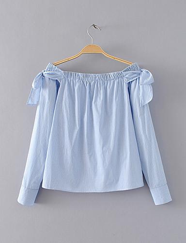 여성 줄무늬 보트넥 긴 소매 셔츠,단순한 섹시 스트리트 쉬크 데이트 캐쥬얼/데일리 실크 면 여름 얇음 중간
