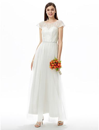 A-라인 쥬얼리 발목 길이 레이스 튤 신부 들러리 드레스 와 허리끈/리본 으로 LAN TING BRIDE®