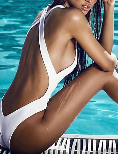 povoljno Ženske majice-Žene S naramenicama Obala Crn Cheeky gaćice Jednodijelno Kupaći kostimi - Jednobojni M L XL Obala / Sexy