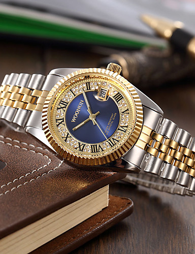 Homens Relógio de Moda Quartzo imitação de diamante Lega Banda Amuleto Prata Dourada