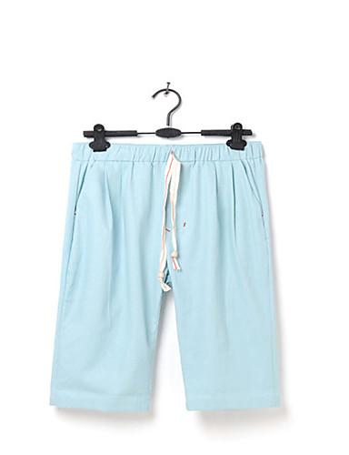 Homens Casual Solto Shorts Chinos Calças - Sólido