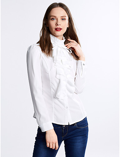 Kadın's Polyester Karpuz Kol Dik Yaka Fırfırlı, Solid Bluz
