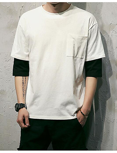 남성 솔리드 라운드 넥 티셔츠,심플 캐쥬얼/데일리 면