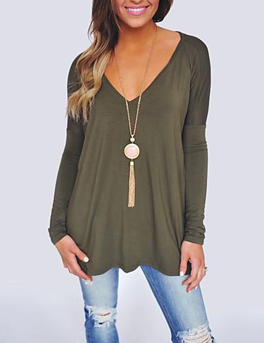 billige Topper til damer-V-hals Store størrelser T-skjorte Dame - Ensfarget Fritid Grønn