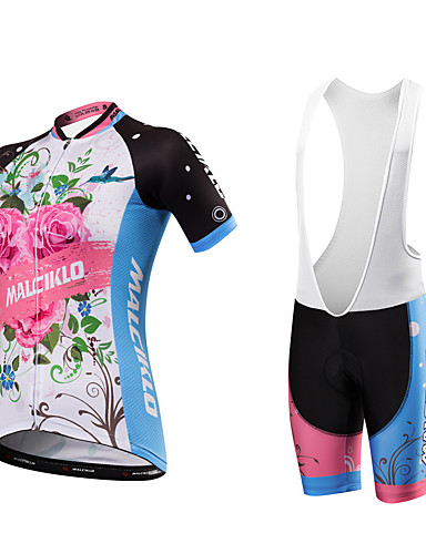 cheap Cycling Clothing-Malciklo Women's Short Sleeve Cycling Jersey with Bib Shorts - Blue+Pink Floral Botanical Plus Size Bike Clothing Suit Breathable Quick Dry Anatomic Design Reflective Strips Sweat-wicking Sports