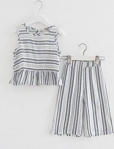 Dívčí Bavlna Polyester S proužky Léto Soupravy,Bez rukávů Sady oblečení