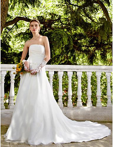 Linha A Sem Alças Cauda Capela Cetim Tule Vestidos de noiva personalizados com Miçangas Faixa / Fita Botão Flor Franzido de LAN TING