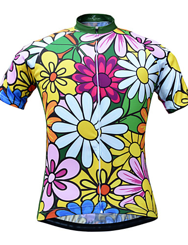 cheap Cycling Clothing-JESOCYCLING Women's Short Sleeve Cycling Jersey Floral / Botanical Bike Jersey Breathable Quick Dry Back Pocket Sports 100% Polyester Mountain Bike MTB Road Bike Cycling Clothing Apparel / Stretchy