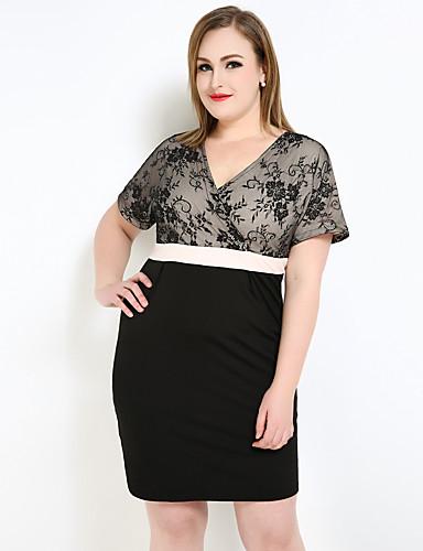 670843fd22b Women s Plus Size Street chic   Sophisticated Sheath   Lace   T Shirt Dress  - Color