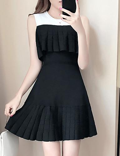 여성 A 라인 드레스 캐쥬얼/데일리 컬러 블럭,라운드 넥 무릎 위 민소매 폴리에스테르 여름 높은 밑위 약간의 신축성 중간