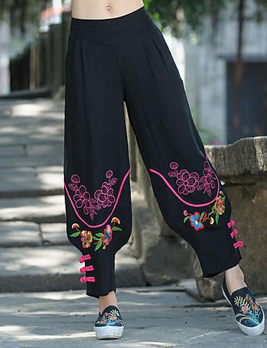 abordables Pantalons Femme-Femme Chinoiserie Quotidien Ample Ample / Chino Pantalon - Multicolore Imprimé Noir L XL XXL