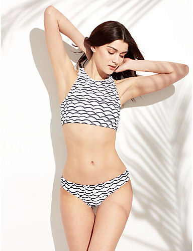 Dame Grime Bikini - Trykt mønster, Cheeky Stripet