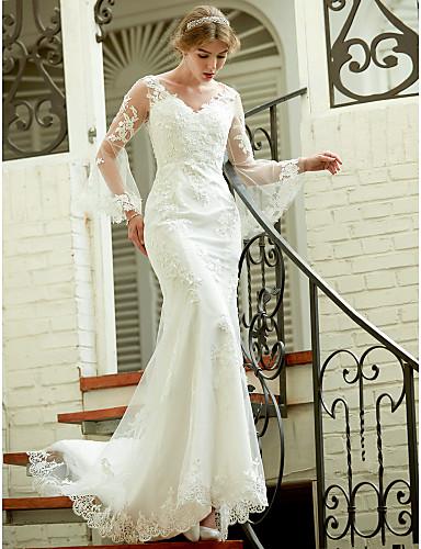 Sereia Decote V Cauda Corte Renda Vestidos de noiva personalizados com Apliques Botão de LAN TING BRIDE®