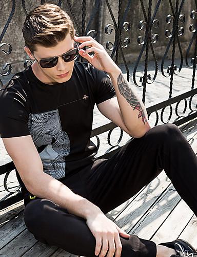 남성 솔리드 스탠드 짧은 소매 Polo,단순한 펑크 & 고딕 스트리트 쉬크 스포츠 캐쥬얼/데일리 작동 면 여름 중간