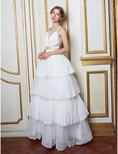 A-Line Plunging Neckline Floor Length Lace Tulle Wedding Dress with Pearl Lace by LAN TING BRIDE®