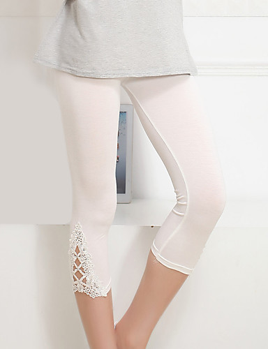 Kadın's Temel / Sokak Şıklığı Günlük Dışarı Çıkma Tozluklar Pantolon - Solid Dantel / Kırk Yama Doğal Pembe Gri Mor Tek Boyut