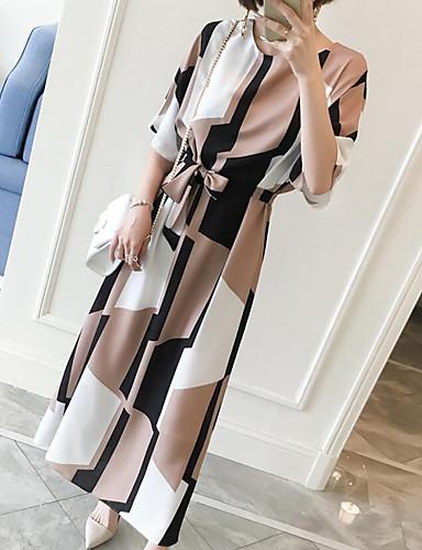 billige Kjoler-Dame Store størrelser Arbeid Vintage Skiftet Kjole - Geometrisk Maksi Knelang