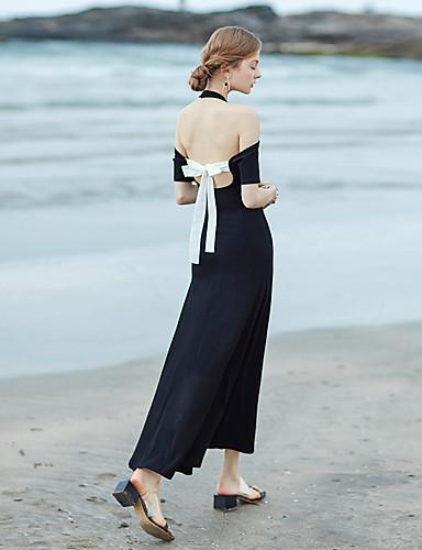 Mulheres Praia balanço Vestido Sólido Longo