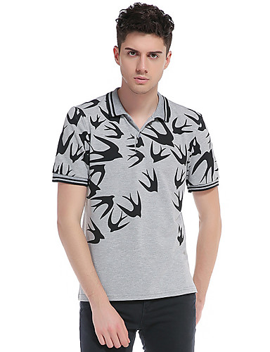 남성 프린트 셔츠 카라 짧은 소매 Polo,빈티지 심플 데이트 캐쥬얼/데일리 면 봄 여름 얇음