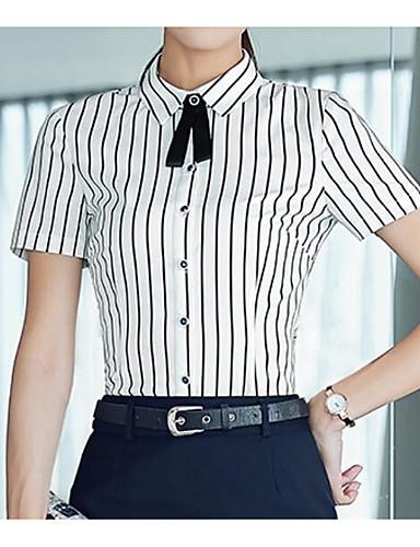 여성 줄무늬 셔츠 카라 짧은 소매 티셔츠,심플 캐쥬얼/데일리 면 얇음