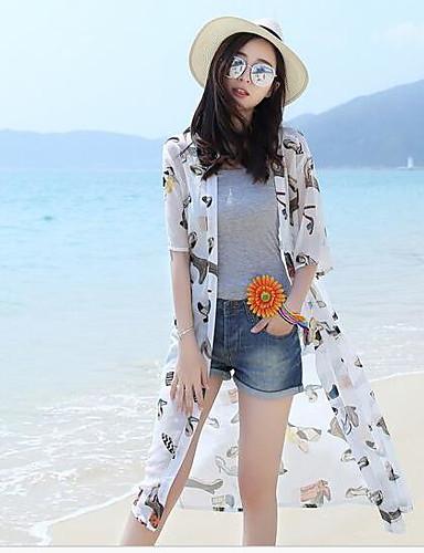 여성 솔리드 라운드 넥 짧은 소매 티셔츠,심플 캐쥬얼/데일리 실크 반투명