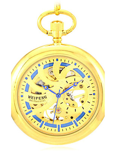 남성용 스켈레톤 시계 회중 시계 기계식 시계 석영 오토메틱 셀프-윈딩 합금 밴드 골드