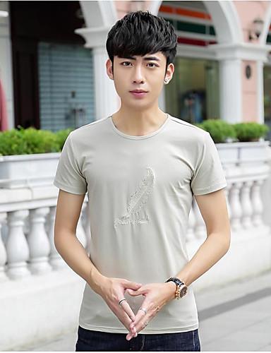 남성 솔리드 라운드 넥 짧은 소매 티셔츠,심플 캐쥬얼/데일리 면