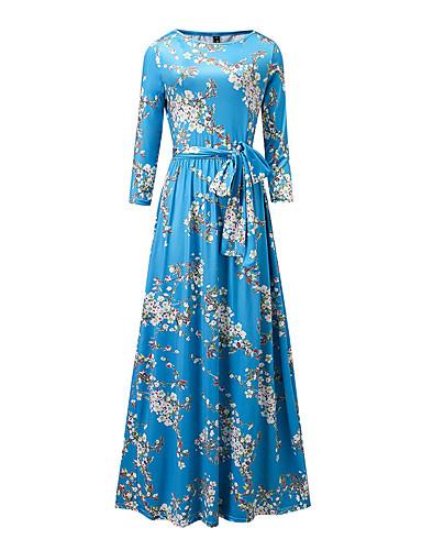 voordelige Maxi-jurken-Dames Grote maten Feest Feestdagen Street chic Verfijnd Schede Jurk - Bloemen Maxi Blauw