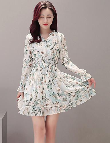 여성 칼집 드레스 데이트 캐쥬얼/데일리 심플 플로럴,V 넥 무릎 위 긴 소매 폴리에스테르 봄 여름 높은 밑위 약간의 신축성 얇음