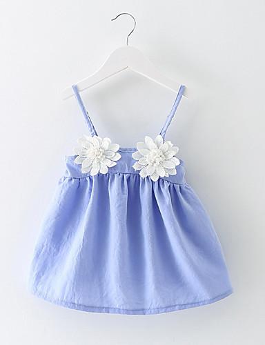 bebê Menina de Vestido Sólido Todas as Estações Algodão Sem Manga Com Babado Azul Rosa