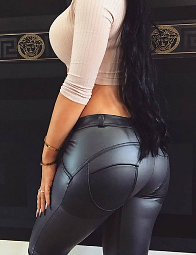 cheap Women's Pants-Women's Plus Size Sports Slim Pants - Solid Colored Pure Color PU Winter Black XL XXL XXXL