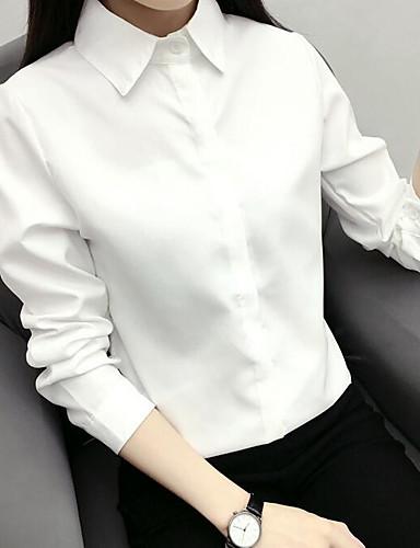 billige Dametopper-Bomull Skjortekrage Skjorte Dame - Ensfarget, Ren Farge Fritid Hvit / Vår / Høst