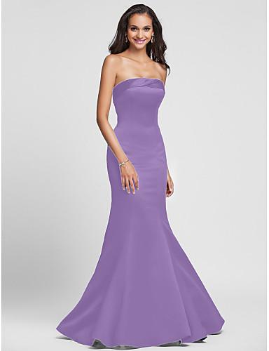 ad3577d29 حورية البحر بدون حمالات طول الأرض ساتان فستان الاشبينة مع ثنيات جانبية  بواسطة LAN TING BRIDE®