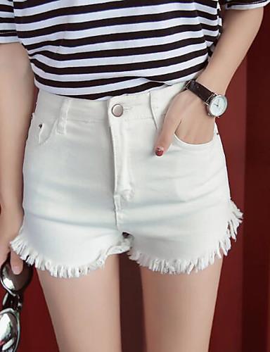 Damen Street Schick Hohe Hüfthöhe strenchy Jeans Kurze Hosen Schlank Hose