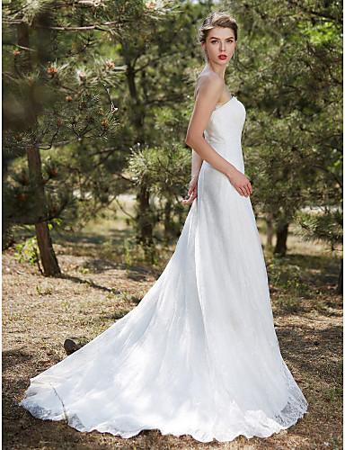 גזרת A סטרפלס שובל קורט תחרה סאטן טול שמלת חתונה עם תחרה על ידי LAN TING BRIDE®