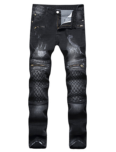Men's Punk & Gothic Street chic Plus Size Cotton Slim Straight Jeans Pants - Lines / Waves Grid / Plaid Patterns Embroidered Check Pattern