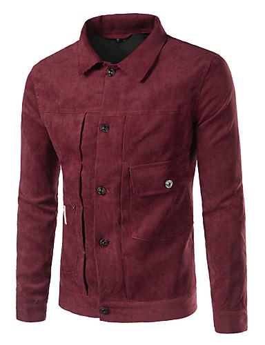 Homens Jaqueta Moda de Rua - Sólido Colarinho de Camisa