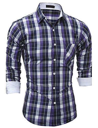 Pánské Kostičky Běžné/Denní Čínské vzory Košile Bavlna Klasický límeček Dlouhý rukáv