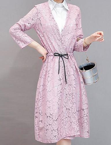 Damen Hülle Kleid-Lässig/Alltäglich Solide V-Ausschnitt Knielang Kunstseide Frühling Sommer Mittlere Hüfthöhe Mikro-elastisch Mittel