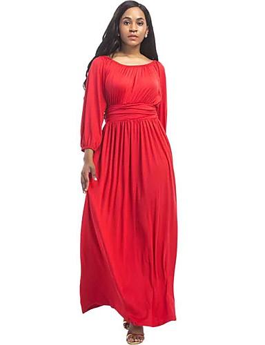 Női Extra méret Lámpás Sleeve Bő Ruha Egyszínű Maxi