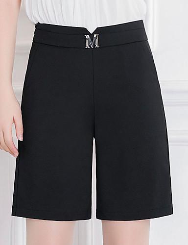 Dámské Jednoduchý Mikro elastické Volné Kalhoty Volný High Rise Čistá barva Flitry Jednobarevné