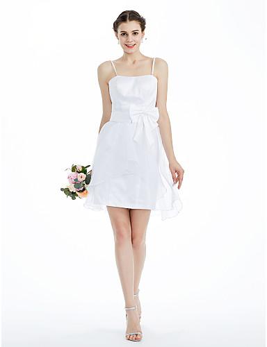 Vestido de Dama de Honor - Blanco Corte A/Corte Princesa Strapless - Hasta la Rodilla Satén/Organza Tallas grandes