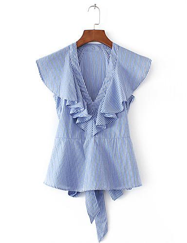 Damen Gestreift Einfach Sexy Street Schick Ausgehen Lässig/Alltäglich Hemd,V-Ausschnitt Sommer Langarm Baumwolle Dünn Mittel