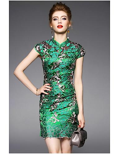 Damen Hülle Kleid-Lässig/Alltäglich Stickerei Ständer Übers Knie Kurzarm Polyester Sommer Hohe Hüfthöhe Mikro-elastisch Dünn