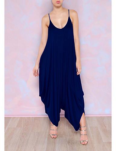 abordables Hauts pour Femmes-Femme Quotidien Col en V Bleu royal Combinaison-pantalon, Mode XL XXL Taille unique Manches 3/4 / énorme