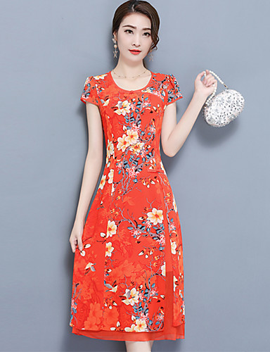 b42d102be2 Damskie Puszysta Wyjściowe Moda miejska Pochwa Sukienka - Kwiaty