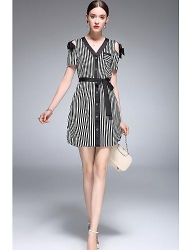 Damen A-Linie Kleid Gestreift V-Ausschnitt Übers Knie Kurzarm Polyester-Taft Frühling Sommer Mittlere Hüfthöhe Mikro-elastisch Dünn