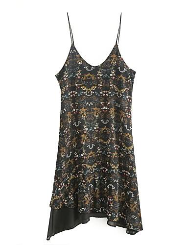Damen Lose Etuikleid Hemd Kleid-Ausgehen Lässig/Alltäglich Einfach Street Schick Blumen Druck Einfarbig Gurt Midi Ärmellos Seide Baumwolle